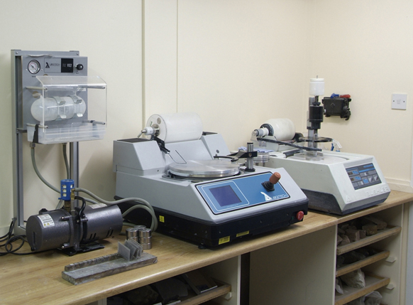 Logitech and Buehler polishing machines