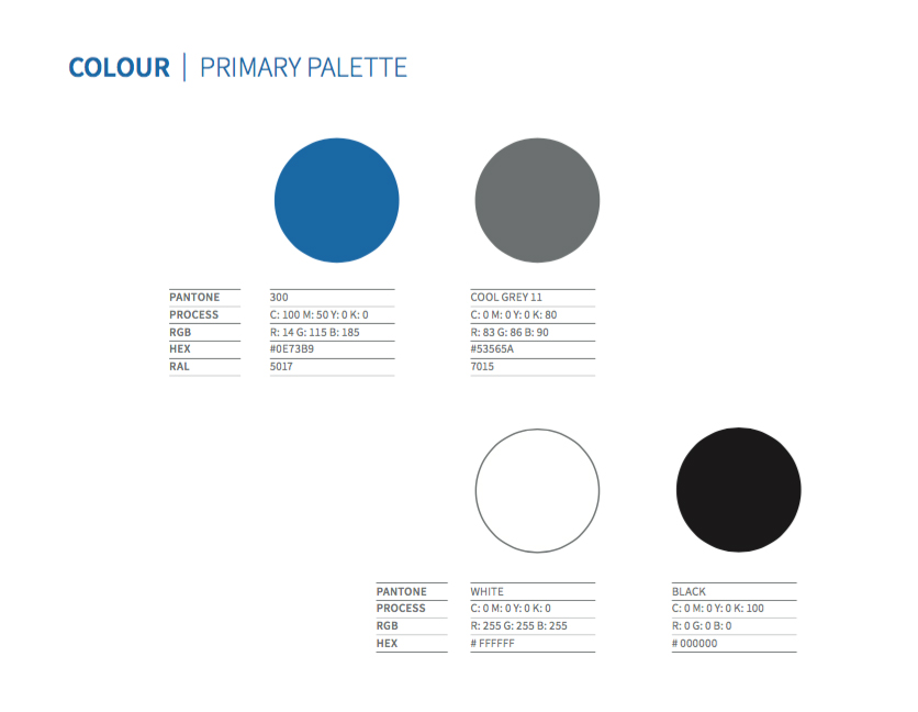 Our Primary Colour Palette Blue Grey And Considered Use Of White E Is A Crucial Part Visual Ideny Lied Consistently It Provides An