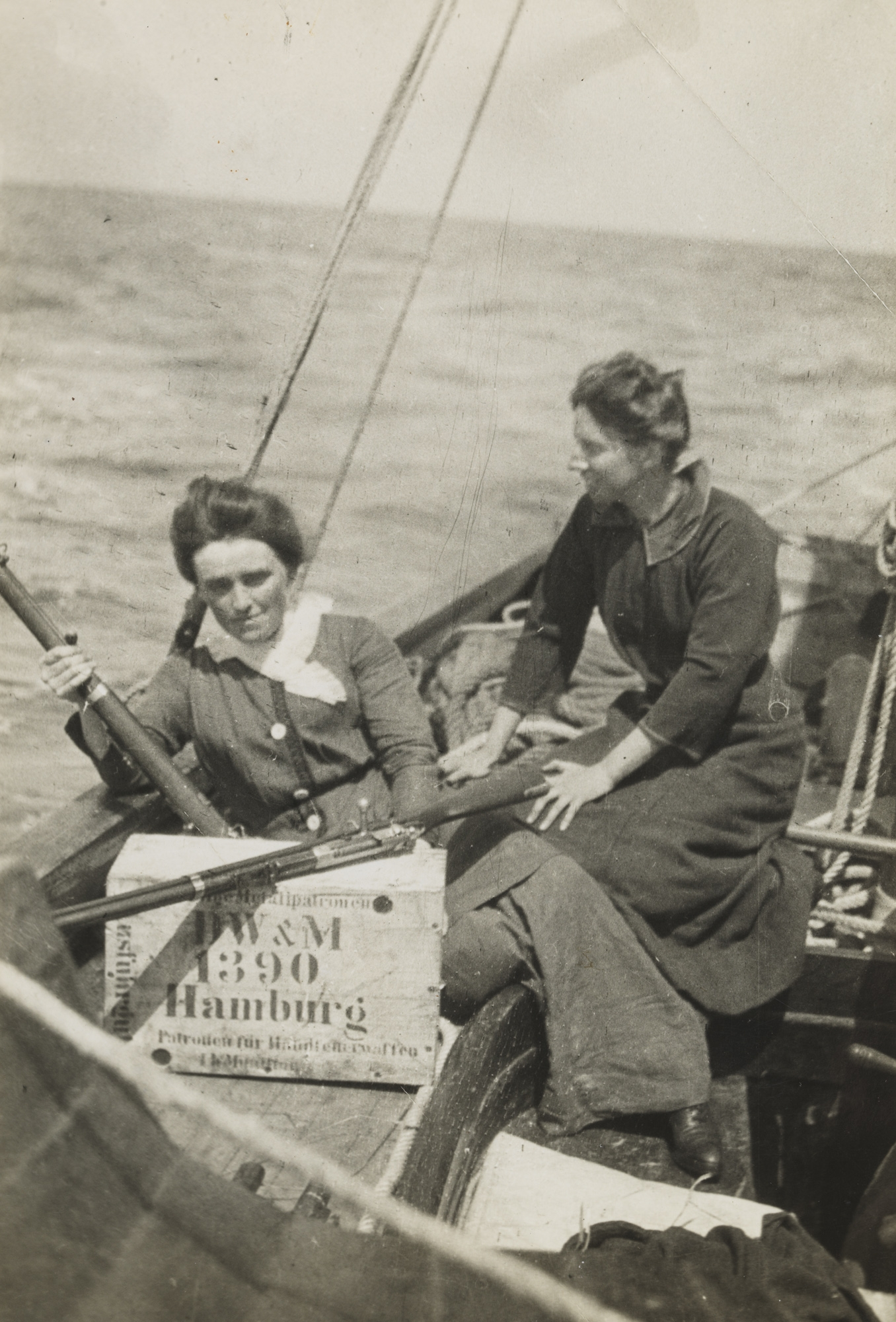 Aboard the Asgard: Mary Spring Rice and Molly Childers with guns