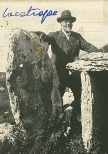 Thomas Johnson Westropp at Creevagh Wedge-tomb, Carran, County Clare c.1911. Image courtesy of Clare County Library