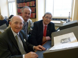 Paul Horan with Harry and Pearse O'Hanrahan in the Library's Early Printed Books Reading Room