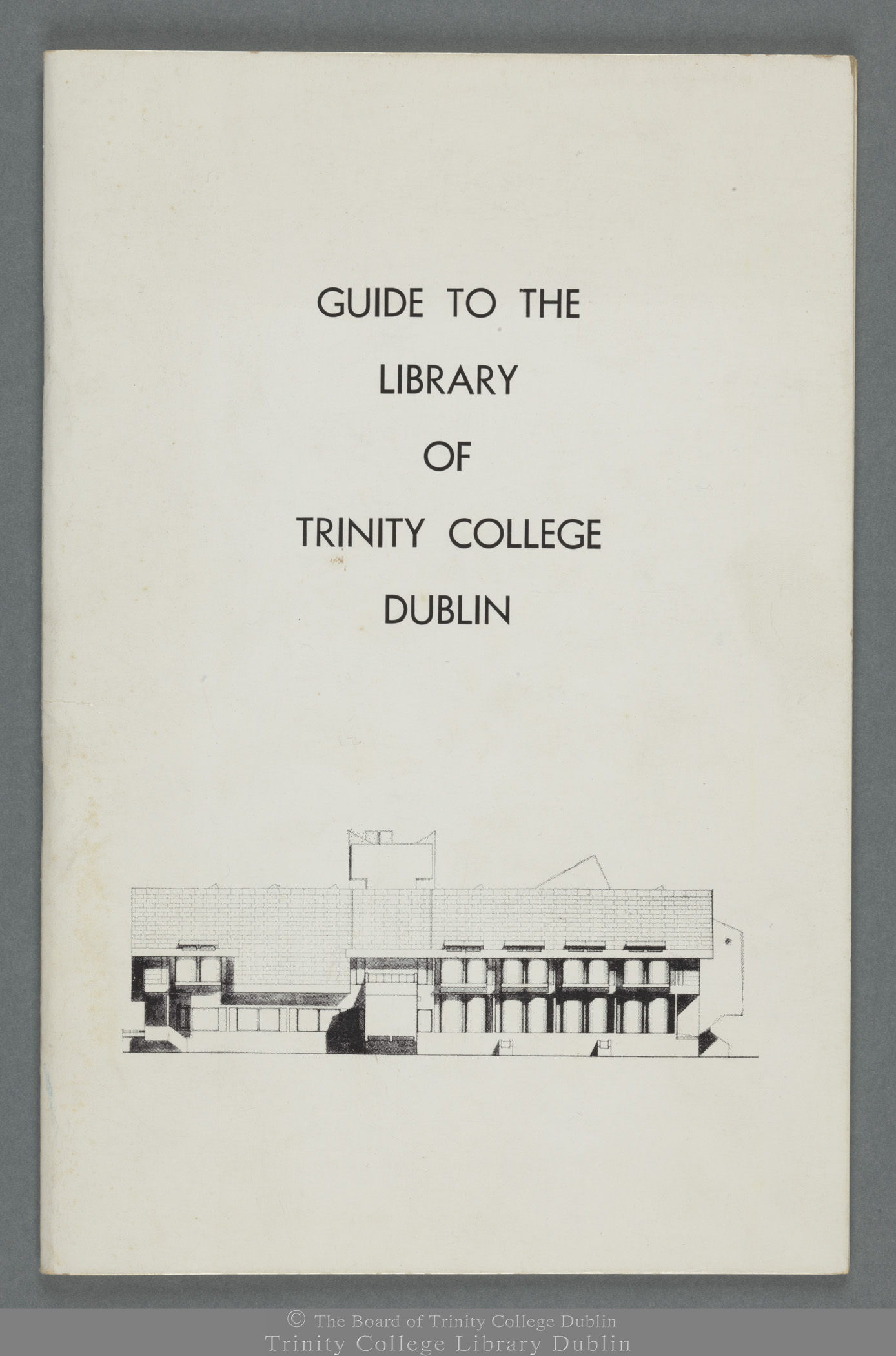 Front cover from Guide to the Library of Trinity College Dublin (1968)
