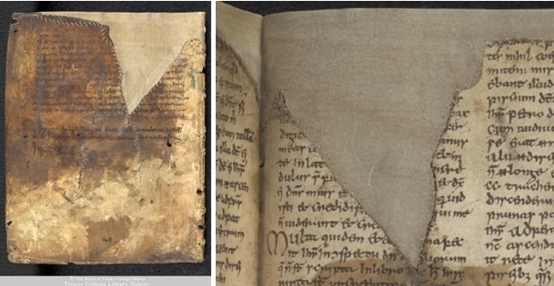 Figures 6 and 7 The Book of Dimma with the repairs sewn by R. Powell (1957), TCD MS 59, f. 148 (left), 147 (right) © The Board of Trinity College Dublin, the University of Dublin. 2015.