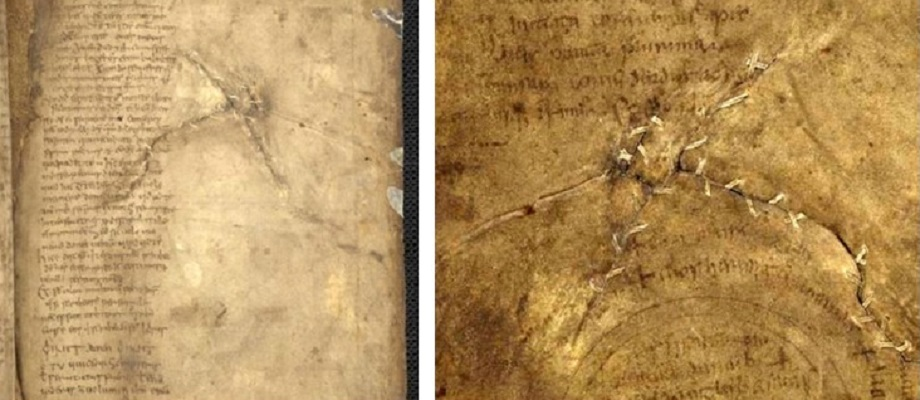 Figures 8 and 9 Book of Mulling showing the sewn repair using a fine parchment strip instead of a linen thread. TCD MS 60, f. 94r (left), f. 94v (right) © The Board of Trinity College Dublin, the University of Dublin. 2015.