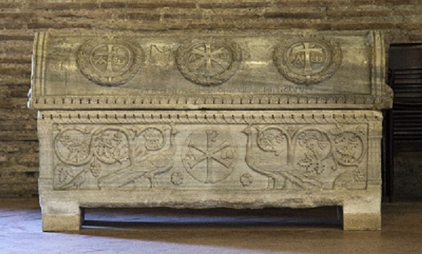 Figure 5 Sarcophagus of Theodore, 5th c. (lid, 7th c.), Sant'Apollinare in Classe, Ravenna. Photo by Fr. Lawrence Lew. Source.