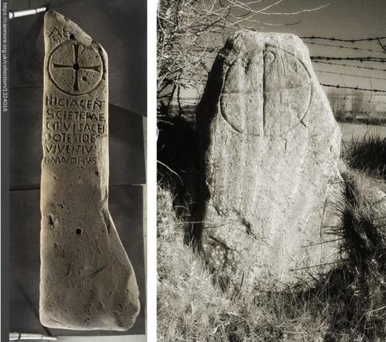 Figure 4a Chi-Rho, Kilmadrine 2, 6th c. Source. Figure 4b Drumaquernan Stone, 6th c. © 2013 Tony O'Neill.  Source.