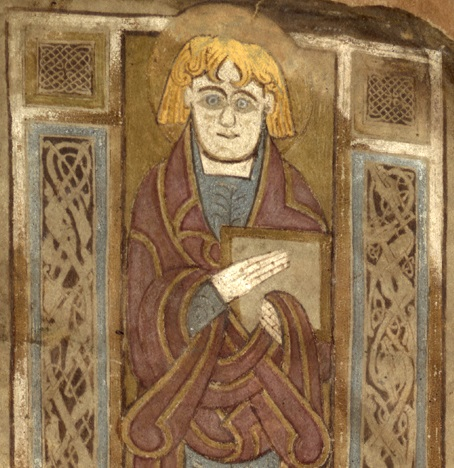 Figure 2 Portrait of Evangelist holding book in the Book of Mulling, 2nd half of 8th century, f. 81v, TCD MS 60 © The Board of Trinity College Dublin, the University of Dublin. 2015.
