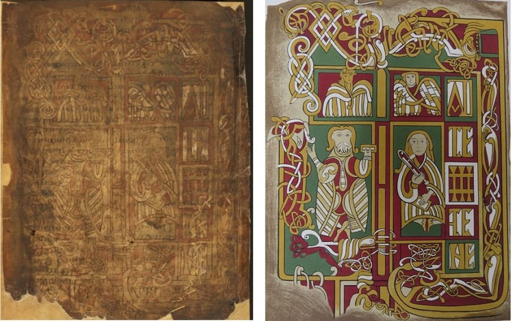 Figure 1a The Garland of Howth, 8th-9th century, TCD MS 56, f. 1r © The Board of Trinity College Dublin, the University of Dublin. 2015. Figure 1b The Garland of Howth. Fol. 1r. Chromolithograph by Margaret Stokes c. 1866. Photo. C.M. Thomas