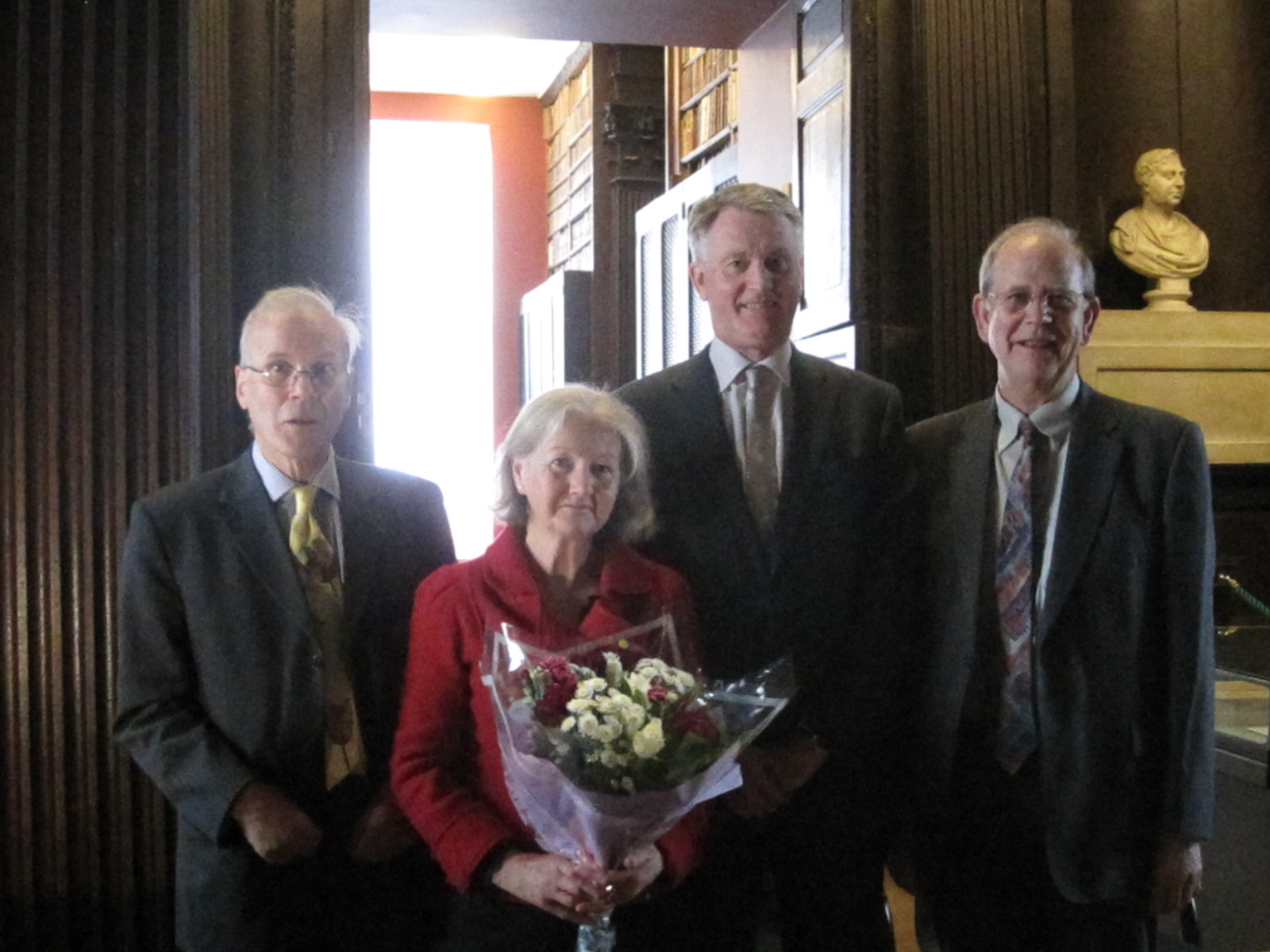 Charles and Gillie Benson, Robin Adams and Andrew Carpenter in the Long Room