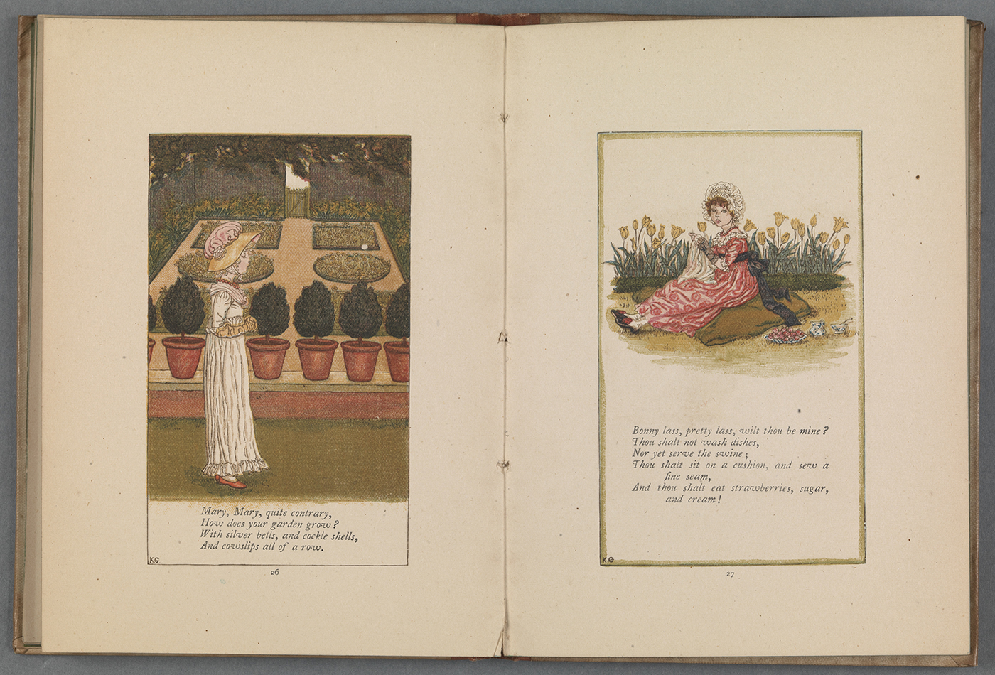 Opening featuring two nursery rhymes with Greenaway's illustrations