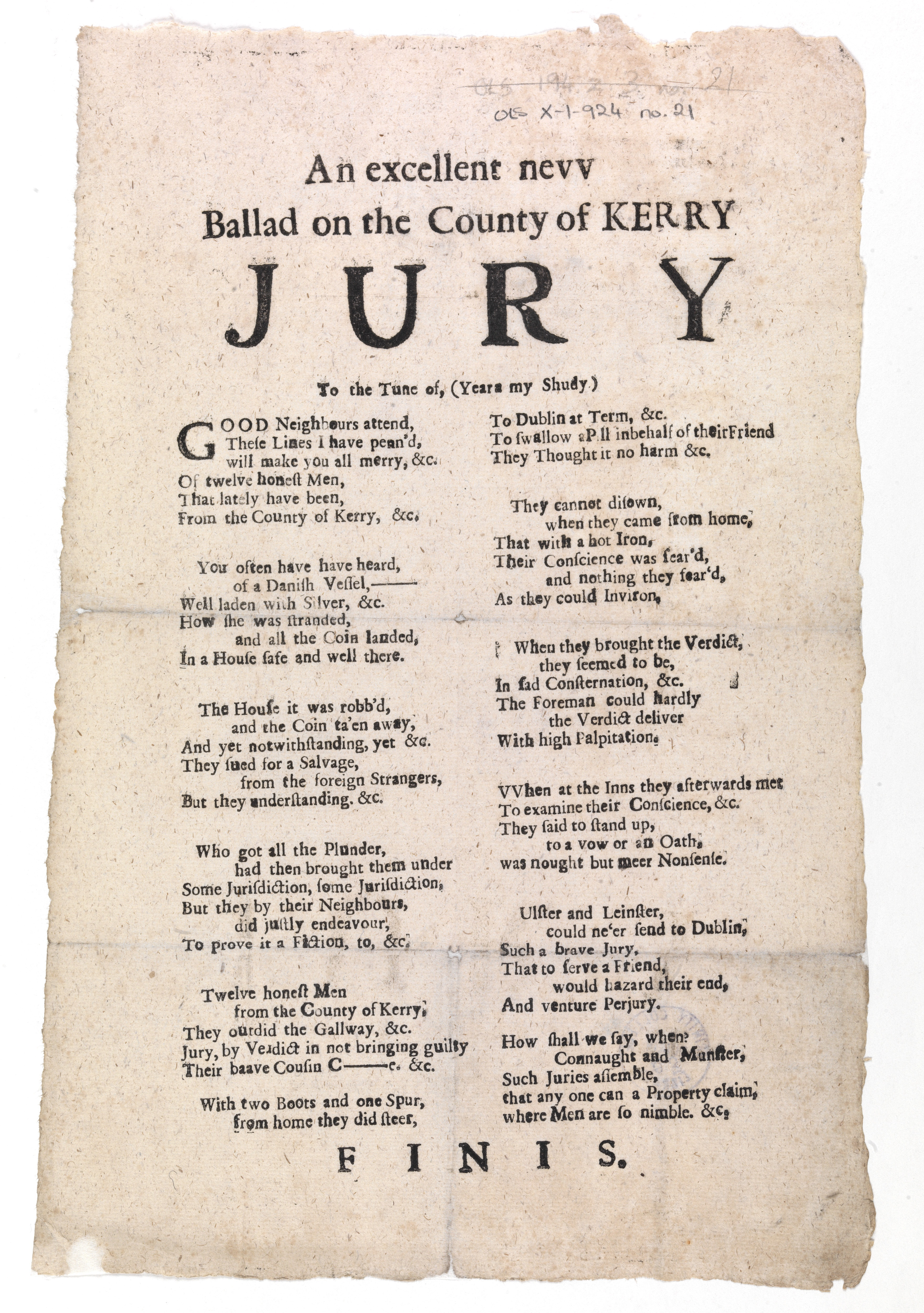 'An excellent new ballad on the county of Kerry jury' [Dublin, c.1735]. Shelf mark OLS X-1-924 no.21