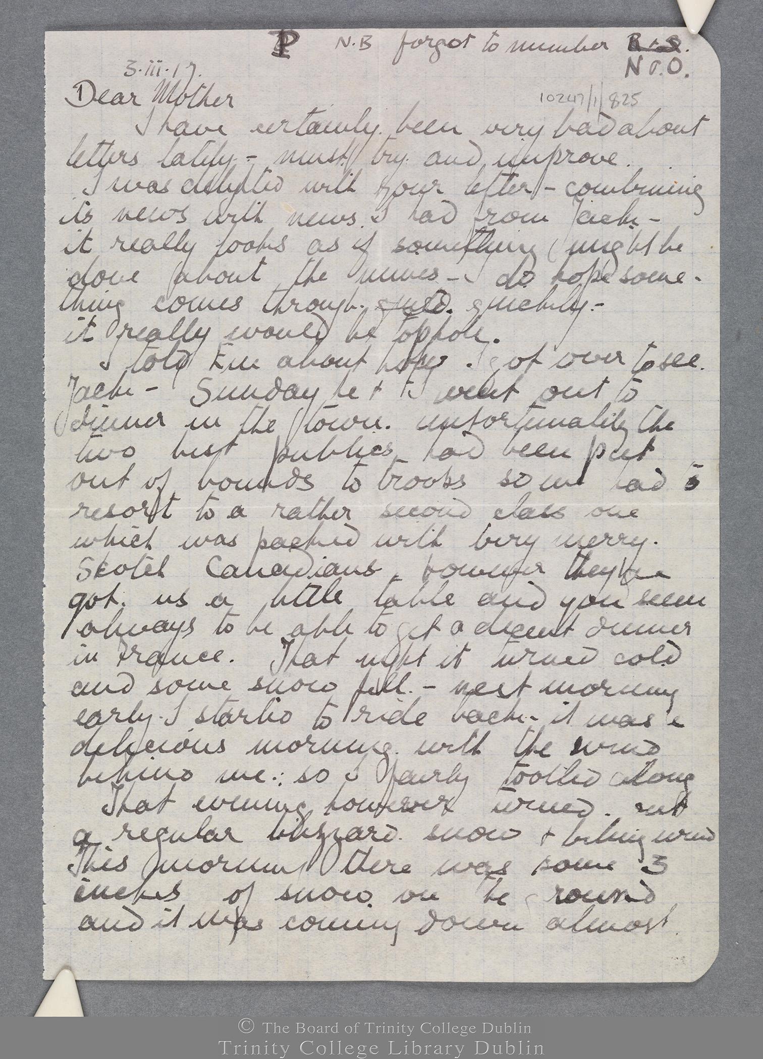 TCD MS 10247/1/825 folio 1 recto
