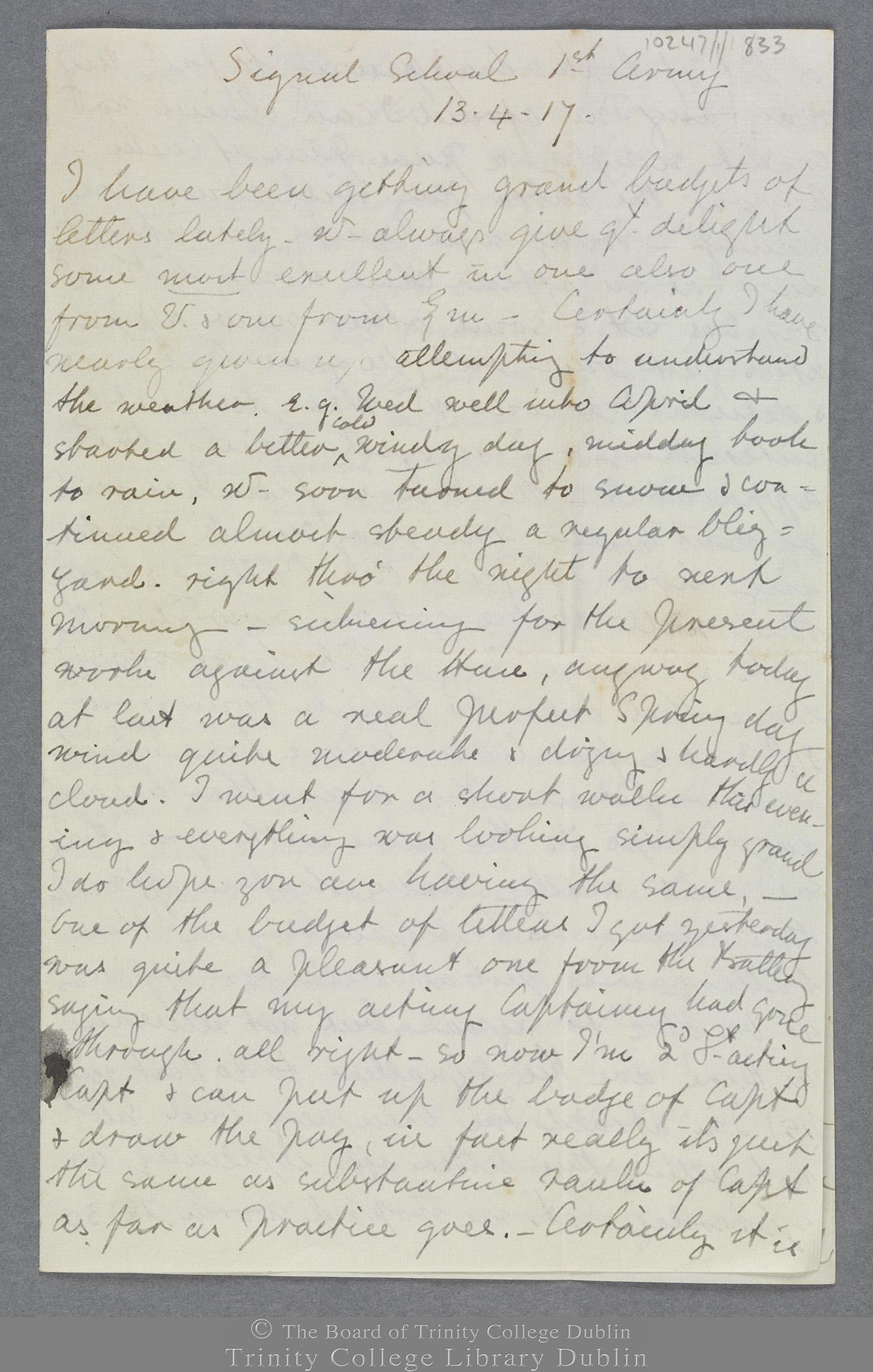 TCD MS 10247/1/833 folio 1 recto