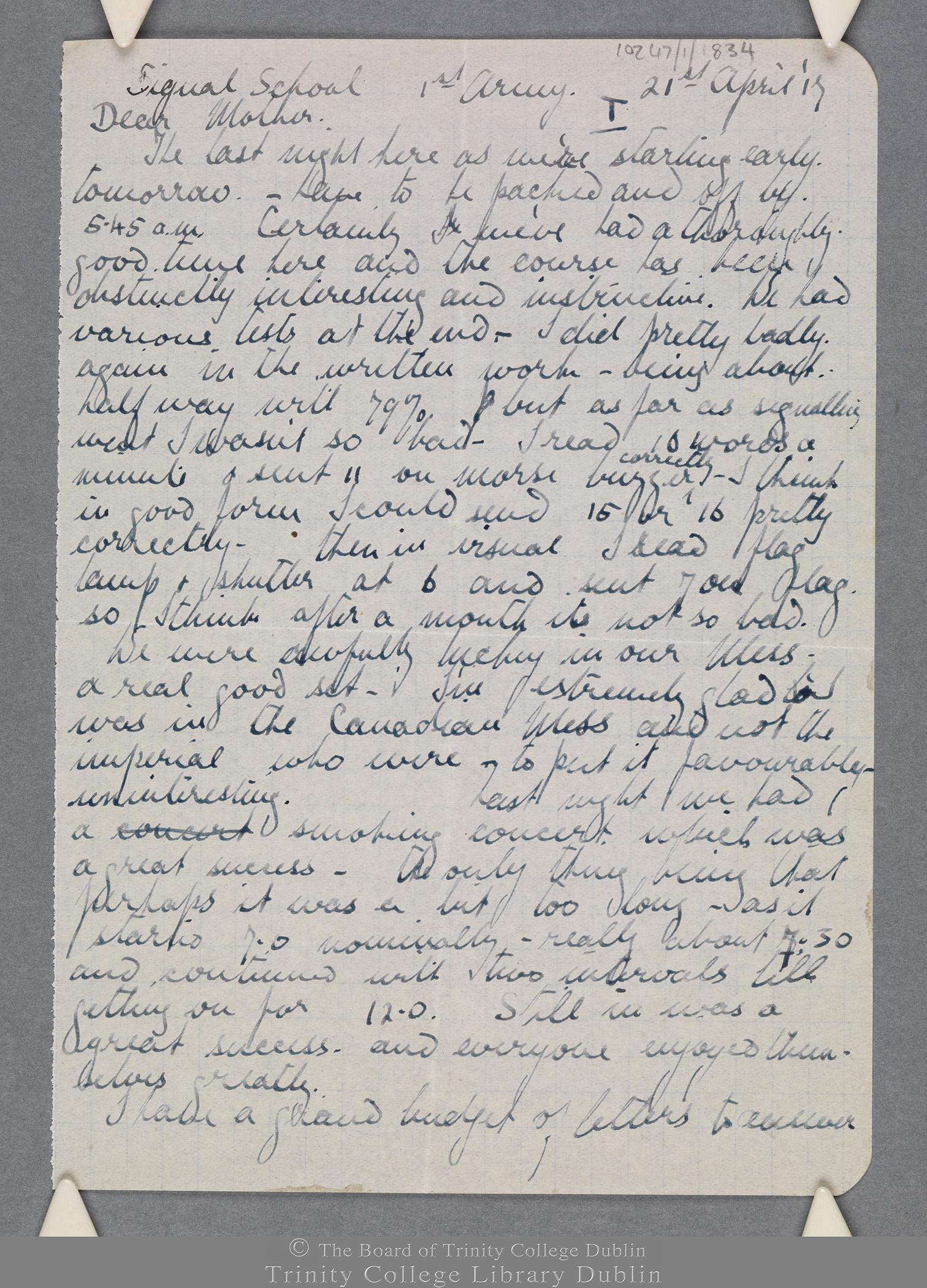 TCD MS 10247/1/834 folio 1 recto