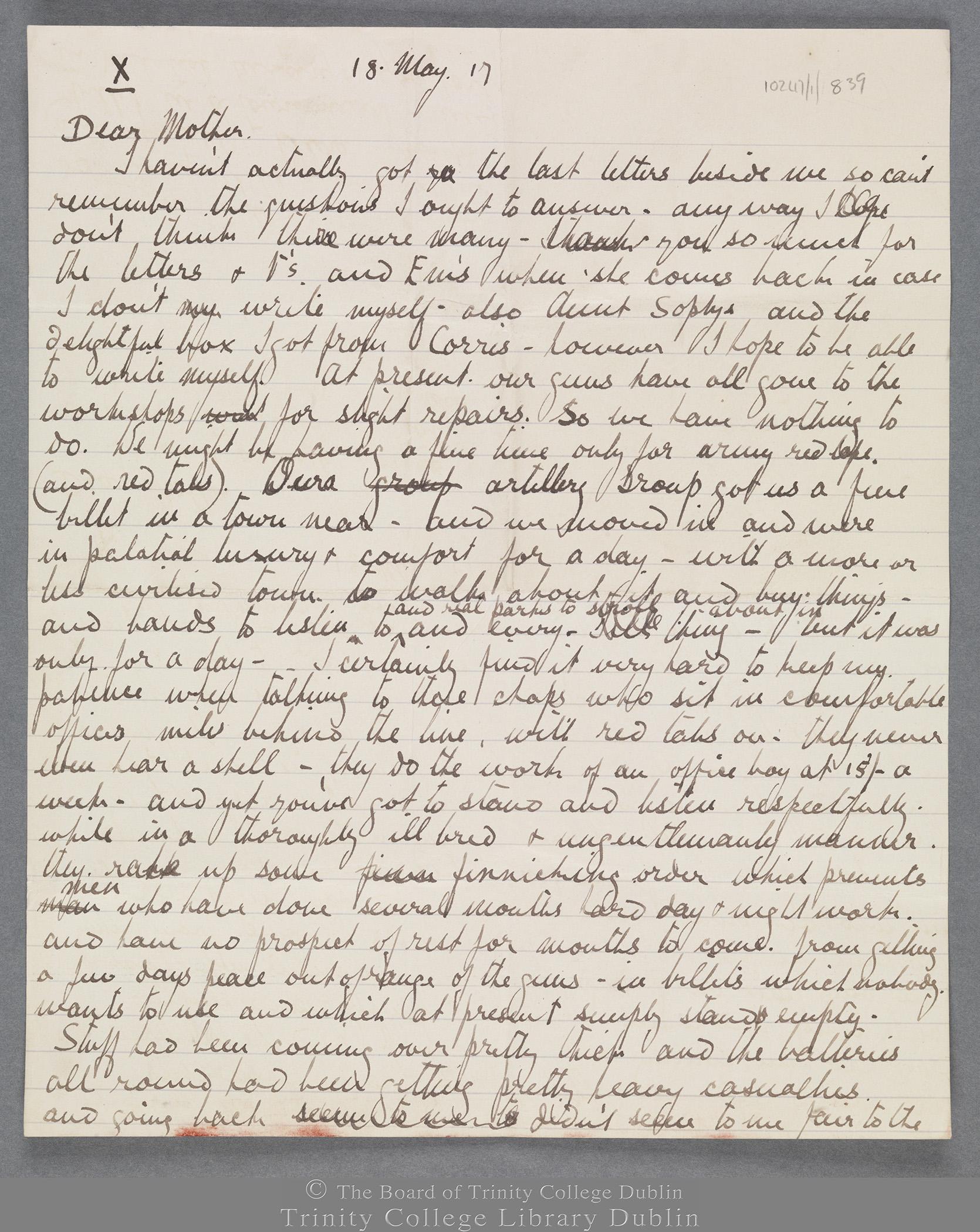 TCD MS 10247/1/839 folio 1 recto