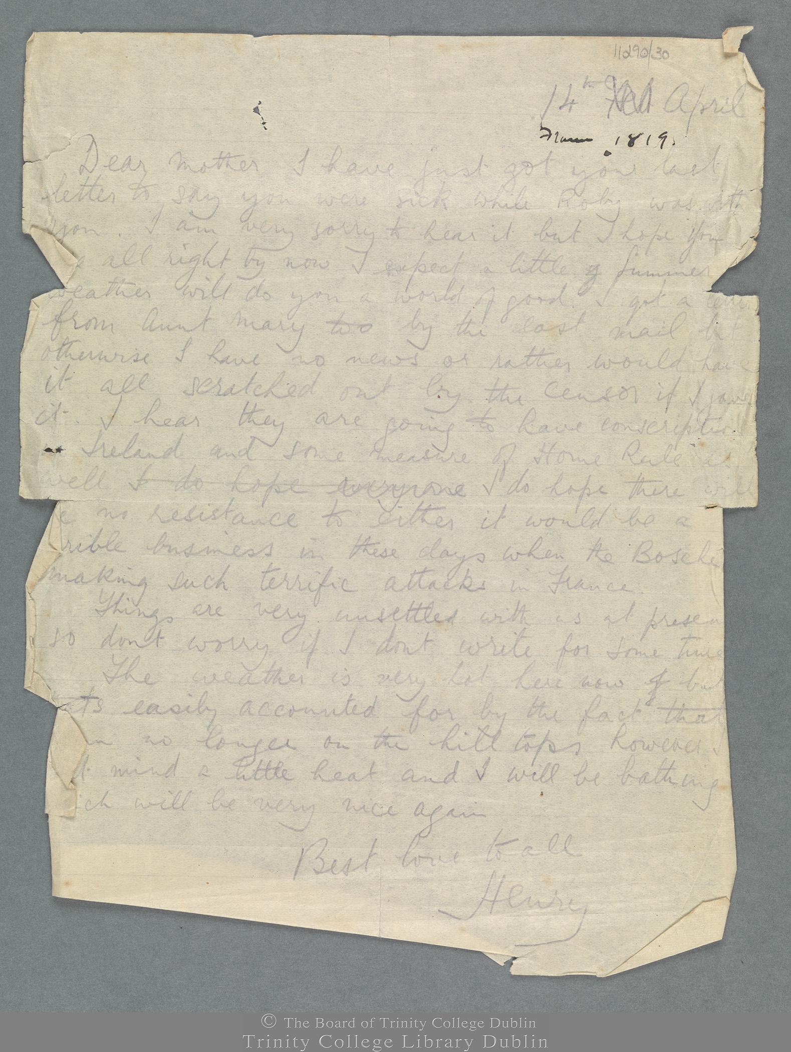TCD MS 11290/30 folio 1 recto