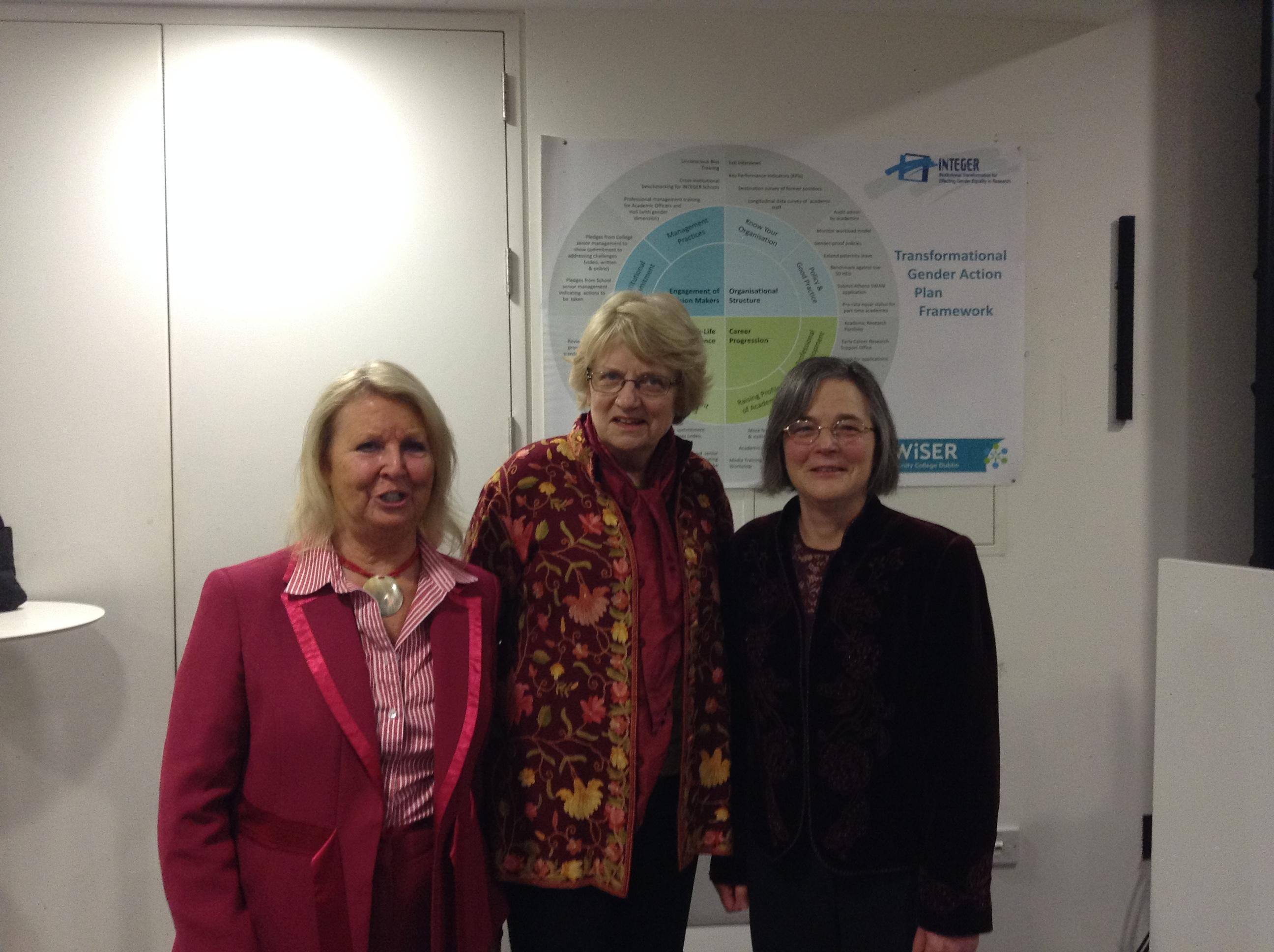Prof Nancy Hopkins with Prof Eileen Drew & Prof Jane Grimson